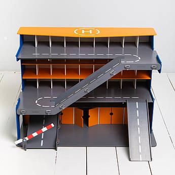 """Гараж для машинок Woodmax """"Деметра"""" 68*38*48 см сине-оранжевый с LED-подсветкой"""