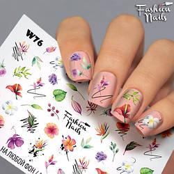 """Слайдер-дизайн КВІТИ наклейки для нігтів Fashion Nails Матеріали для дизайну нігтів Слайди для нігтів """"ВЕСНА"""""""