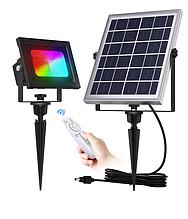 Прожектор на сонячній батареї 60 LED RGB з пультом управління для ландшафту