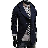 Мужское стильное двубортное синее пальто