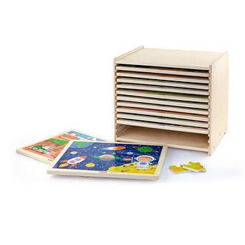 Набор деревянных пазлов Viga Toys из 24 эл. со стойкой для хранения, 12 шт. (51428)