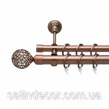 Карниз для штор металевий САВОНА подвійний 25+19 мм 3.0 м Мідь