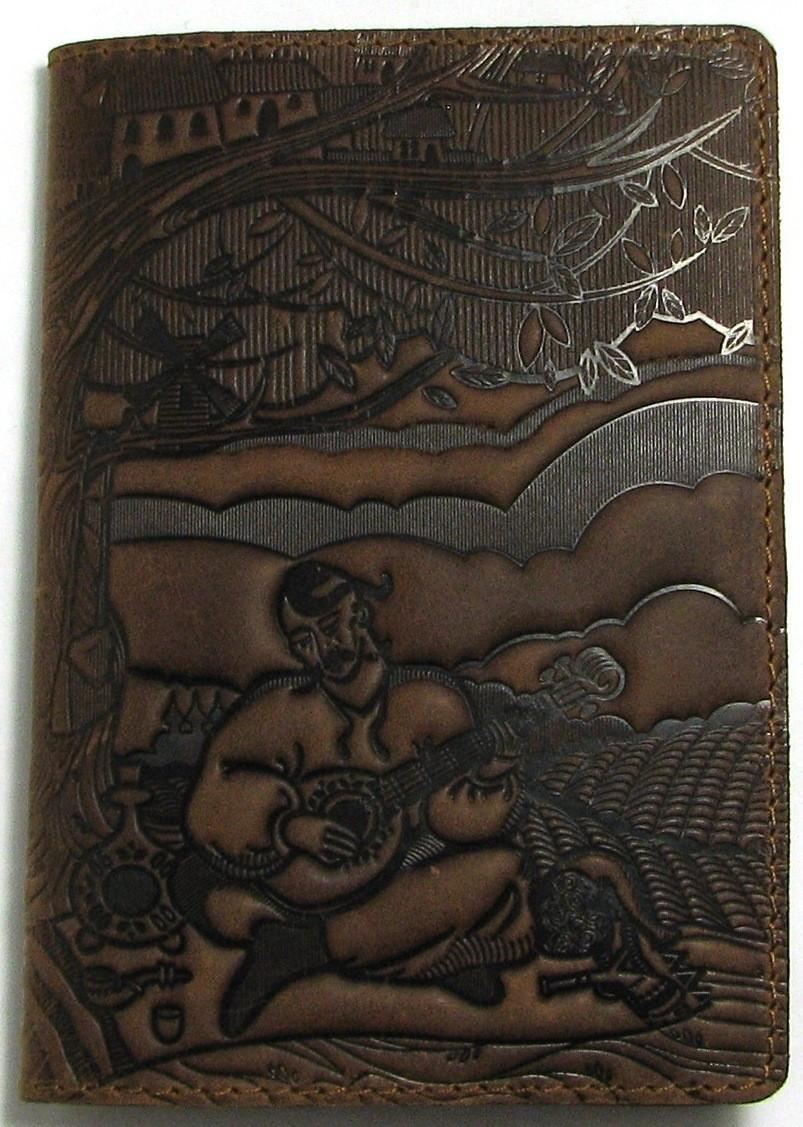 Кожаная обложка на паспорт с узором тиснением. Ассортимент. Украина. Качество. женские и мужские Темно-коричневый
