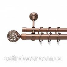 Карниз для штор металевий САВОНА подвійний 25+19 мм 2.0 м Мідь