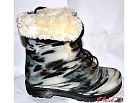 Женские стильные резиновые ботинки силиконовые черно-белые на меху KF0136