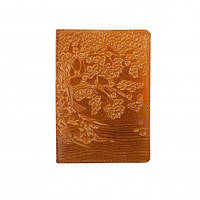 Кожаная обложка на паспорт с узором тиснением. Ассортимент. Украина. Качество. женские и мужские Рыжий, желтый, фото 1