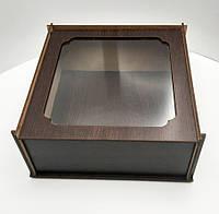 Коробка для подарков с прозрачной крышкой венго ДВП 20х20х8см