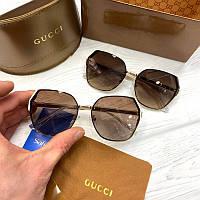 Женские солнцезащитные очки Гуччи реплика Коричневые, фото 1