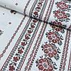 Декоративна тканина українська з квітами та імітацією вишивки, ш. 150 см