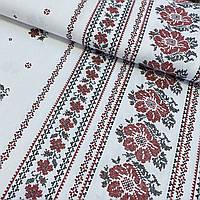 Декоративна тканина українська з квітами та імітацією вишивки, ш. 150 см, фото 1