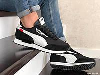 Мужские замшевые кроссовки Puma Future Rider (черно-белые с красным) Демисезонные кроссы Пума Фьючер Райдер