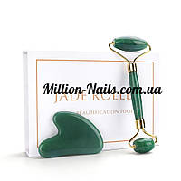 Роликовый массажер и скребок Гуаша зеленый нефрит(Набор)