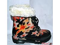 Женские стильные резиновые ботинки силиконовые на меху KF0137