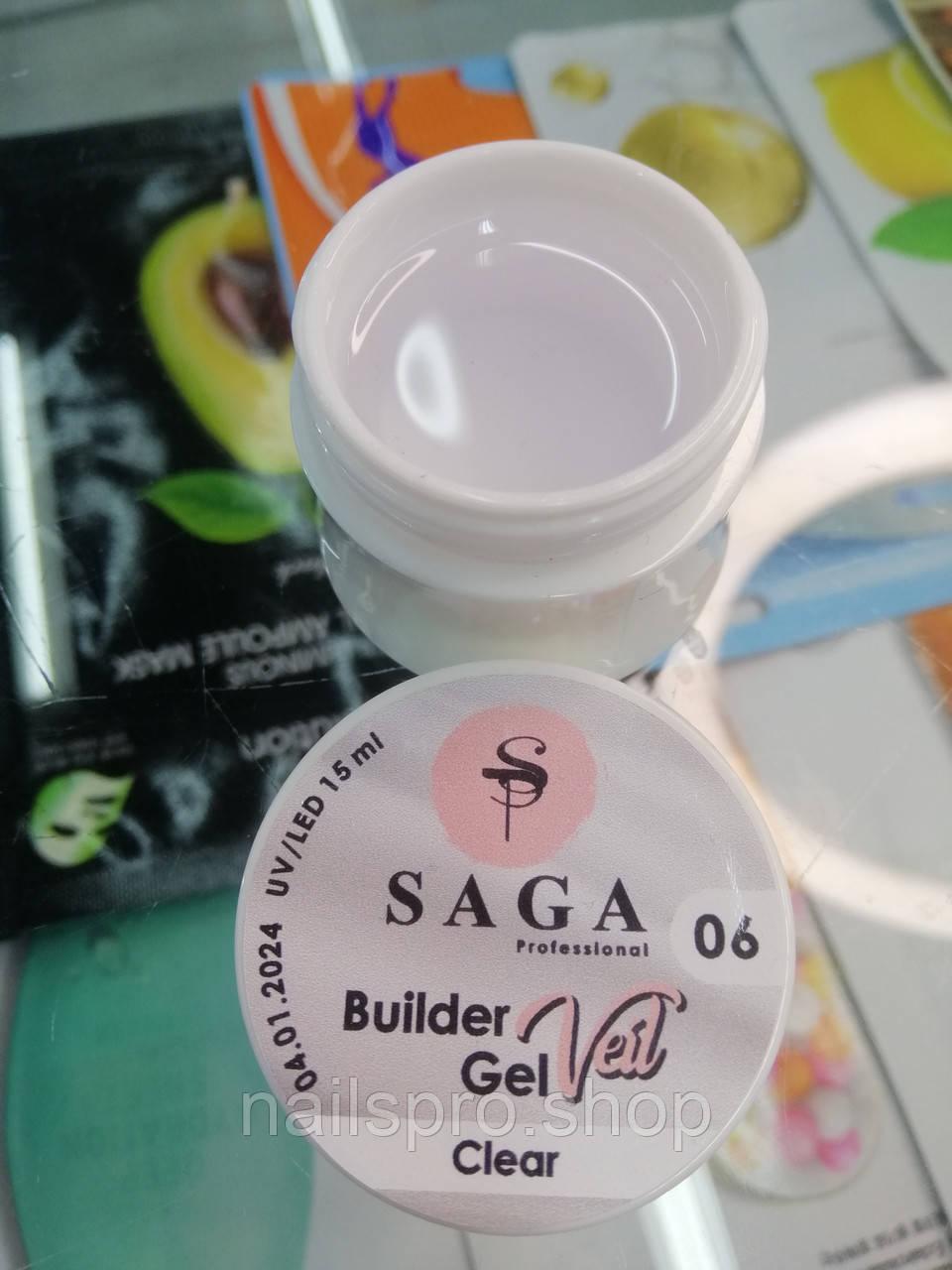 Гель для наращивания ногтей SAGA Builder Gel Veil № 06, 15 мл