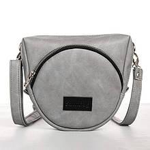 Небольшая стильная серая женская сумка кросс-боди на ремешке наплечная, через плечо