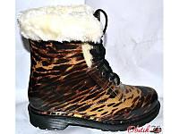 Женские стильные резиновые ботинки силиконовые тигровые на меху KF0138