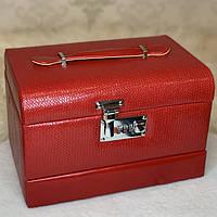 """Шкатулка для украшений из кожзама, кейс """"Классика"""", 3 отсека для хранения 26х18х17 см"""