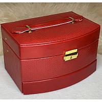 """Шкатулка для украшений из кожзама, кейс """"Элегантность"""", 3 отсека для хранения 21х15х13 см"""