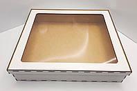 Коробка для подарков с прозрачной крышкой из белого ДВП 41х37х9см