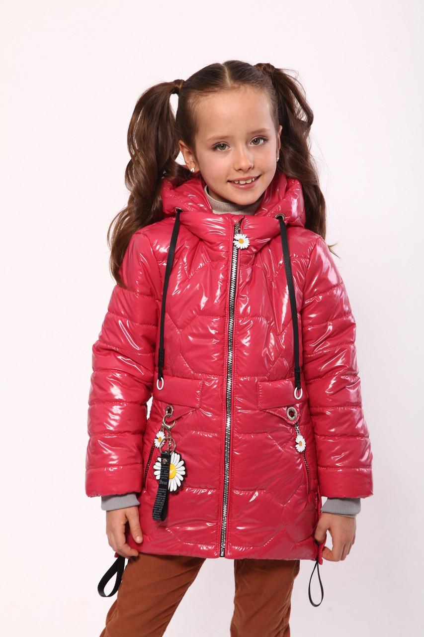 Демісезонне пальто для дівчаток 128-146 колір креветка