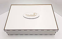 Прямоугольная коробка для подарков белая ДВП 41х37х9см