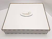 Прямоугольная коробка для подарков белая ДВП 37х27х9см