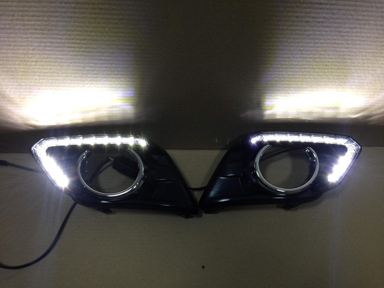 DRL ходовые огни с повторителями поворотов Nissan X-Trail T32 2014-2016 до рестайлинга