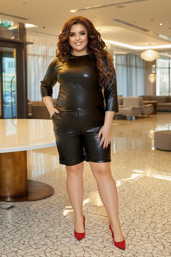 Женский кожаный костюм двойка блуза+шорты ткань эко кожа размер батал: 50-52, 54-56, 58-60.