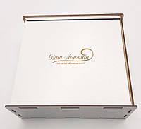Коробка для подарков с выдвижной крышкой белая ДВП 20х20х6см