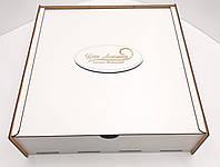 Коробка для подарков с выдвижной крышкой белая ДВП 30х30х6см
