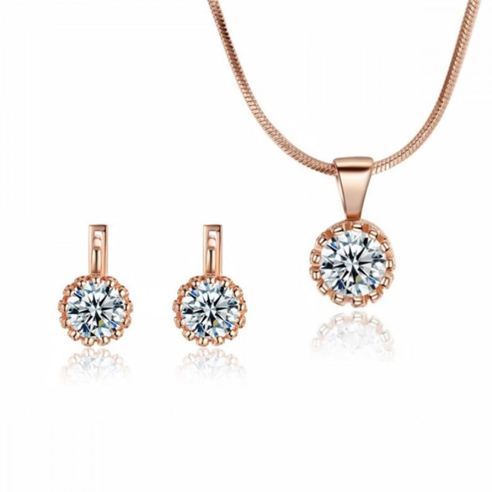 Класичний жіночий набір біжутерії (кольє, сережки) з прозорими каменями (імітація діаманта) позолота