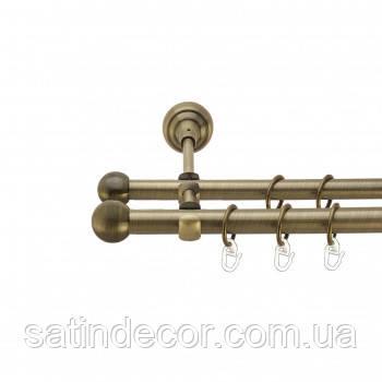 Карниз для штор металевий КУЛЯ БОЛОНЬ подвійний 19+19 мм 1.6 м Античне золото