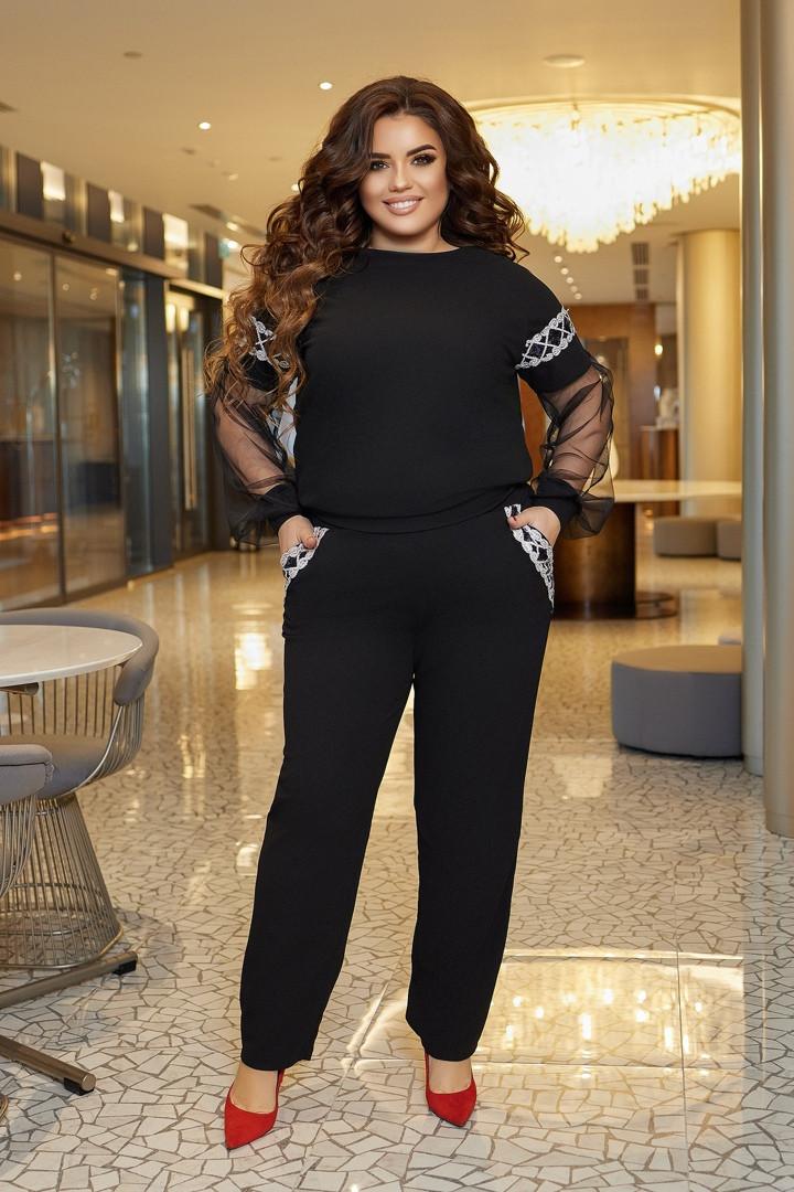 Женский черный костюм двойка блуза+брюки креп дайвинг рукав сетка размер батал: 50-52, 54-56, 58-60.