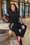 Женский черный костюм двойка блуза+брюки креп дайвинг рукав сетка размер батал: 50-52, 54-56, 58-60., фото 3