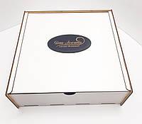 Коробка для подарков с выдвижной крышкой белая ДВП 30х30х8см