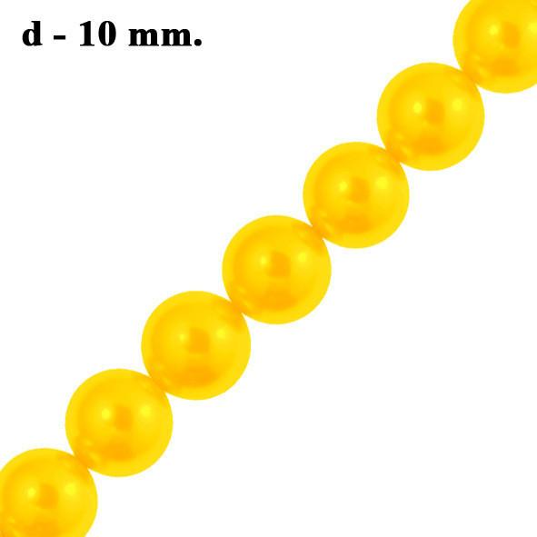 Намистини 10 мм Скляні під Перли для Біжутерії Жовті Золоті, Перламутрові тон 56,