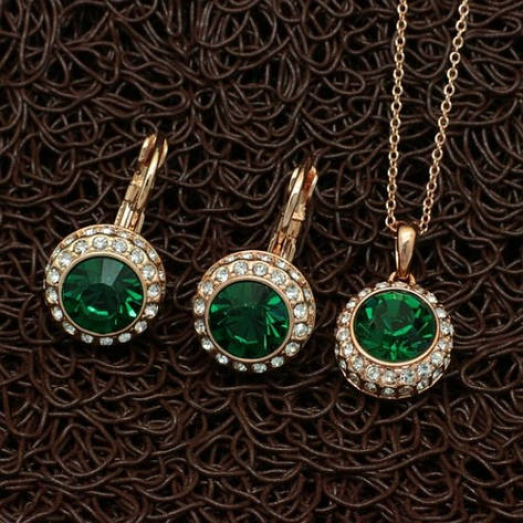 Вечірній жіночий набір біжутерії (кольє, сережки) зелені камені позолота, фото 2