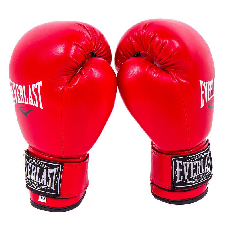 Боксерские перчатки красивые для бокса красные 6oz Everlast DX-380 M11-281337