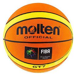 Go Мяч баскетбольный для улицы, зала, стритбола 7 резиновый Molten GT-7 желто-оранжевый M83-282470
