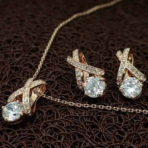Женский набор бижутерии (кулон, серьги) имитация бриллианта позолота, фото 2