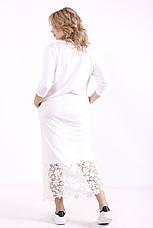 Белое платье батал с кружевом прямое с карманами, фото 2