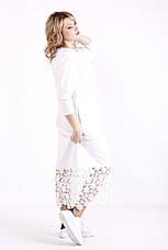 Белое платье батал с кружевом прямое с карманами, фото 3