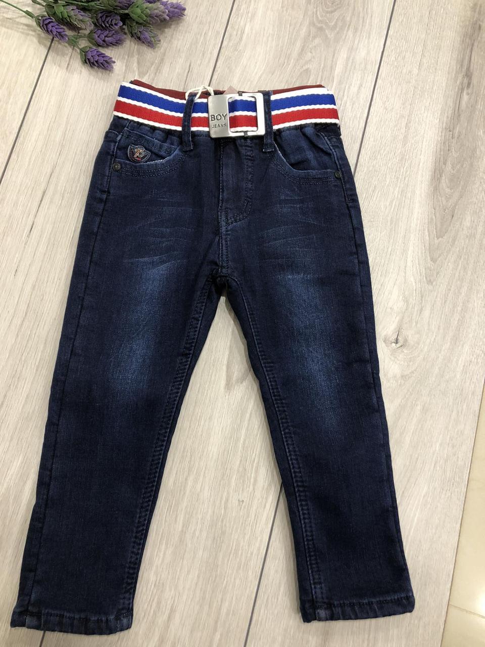 Детские джинсы в комплекте с поясом на флисе (на рост 86 см)