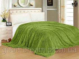 Меховое покрывало-плед травка плюш  Зелёное двухстороннее  220х240 см покрывало в подарочной сумке
