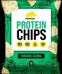 Протеиновые чипсы PRIMEBAR  вкус Сметана и Зелень (30 грамм)