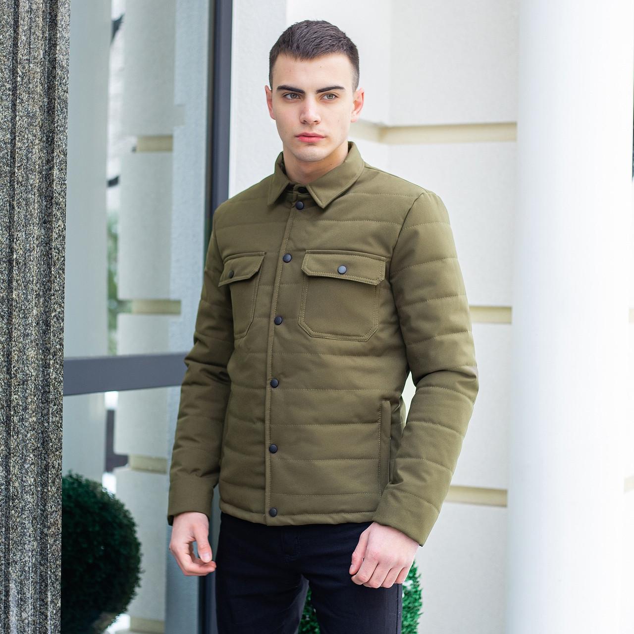 """Мужская коттоновая куртка - рубашка Pobedov Jacket """"IPO"""" без капюшона, демисезонная куртка, цвет хаки"""
