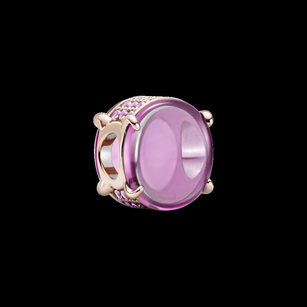 """Серебряный шарм Pandora """"Розовый овальный кабошон"""" 789309C02"""