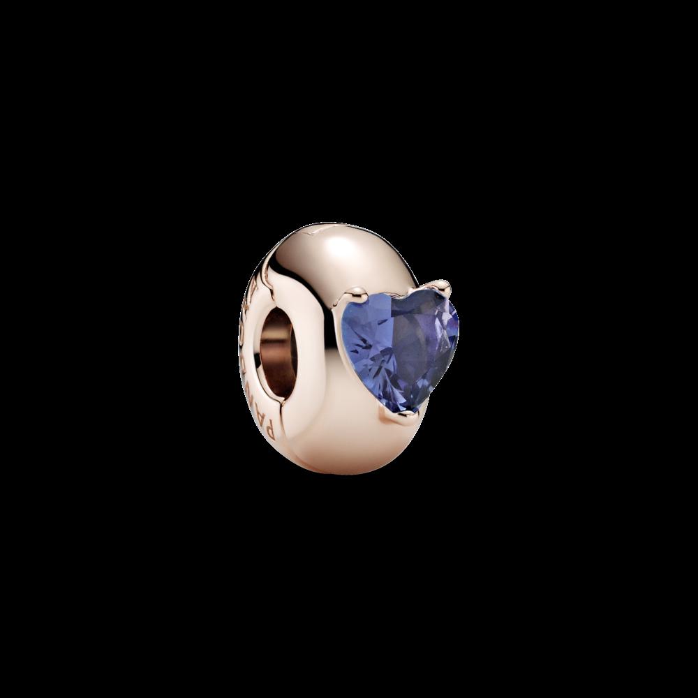 """Серебряный шарм-клипса Pandora Rose """"Синее сердце солитер"""" 789203C02"""
