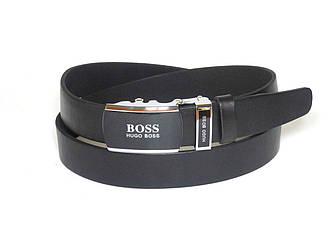Ремень мужской кожаный HUGO BOSS 3,5 см с пряжкой автомат, ремень под брюки из натуральной кожи (реплика)