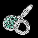 """Серебряный шарм Pandora """"Яркий зеленый диск"""" 799186C02, фото 3"""